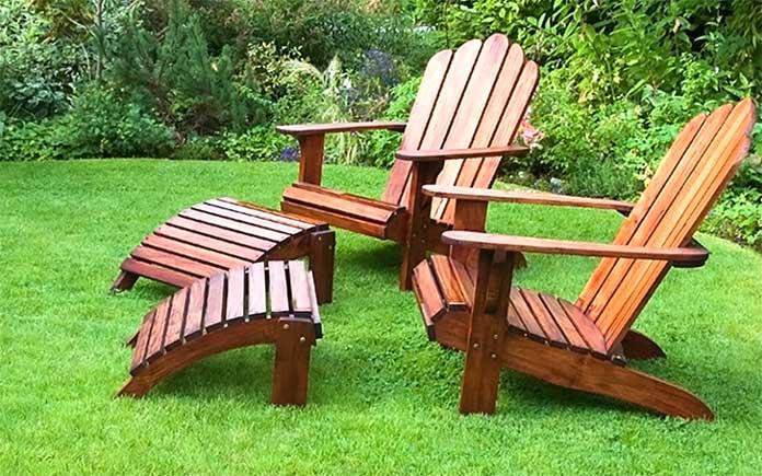 Adirondack chairs in backyard