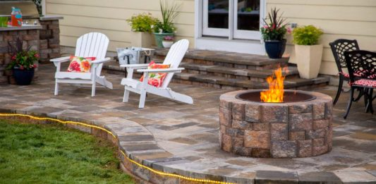 Backyard Paradise with patio and fire pit