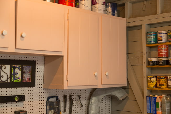Pink cabinets in Chelsea Lipford Wolf's workshop