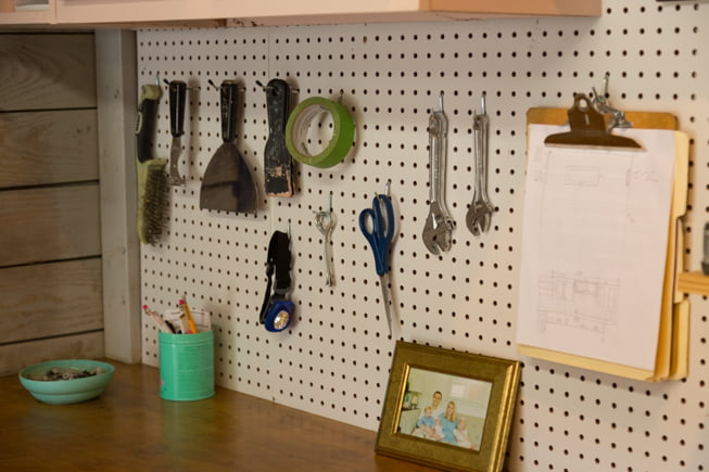 Pegboard in Chelsea Lipford Wolf's workshop