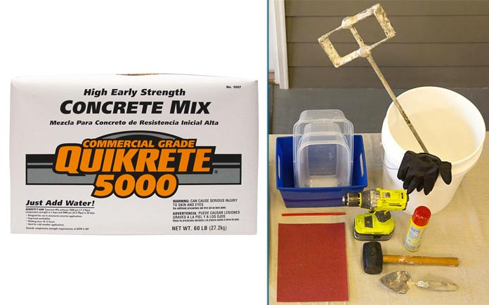 Quikrete 5000 and materials for creating a concrete planter