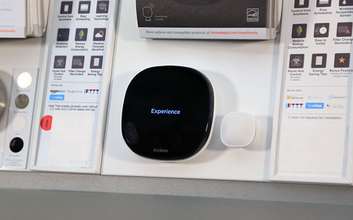 Ecobee SmartThermostat on display in the Mobile, Alabama Home Depot