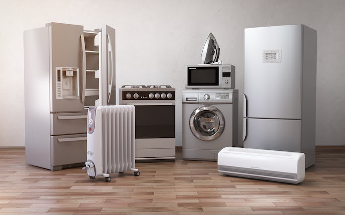 Home appliances. Set of household kitchen technics in the new apartments or kitchen. E-commerce online internet store and delivering of appliances concept.