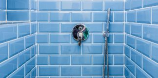 Blue tile shower surround