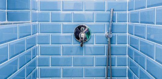 Blue tile shower surround
