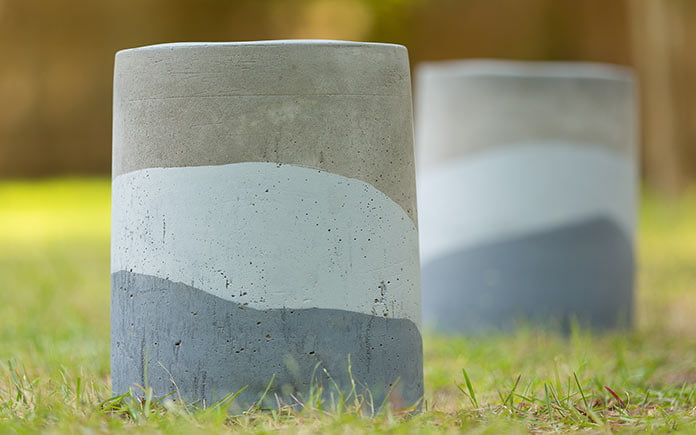 Painted concrete layered stools