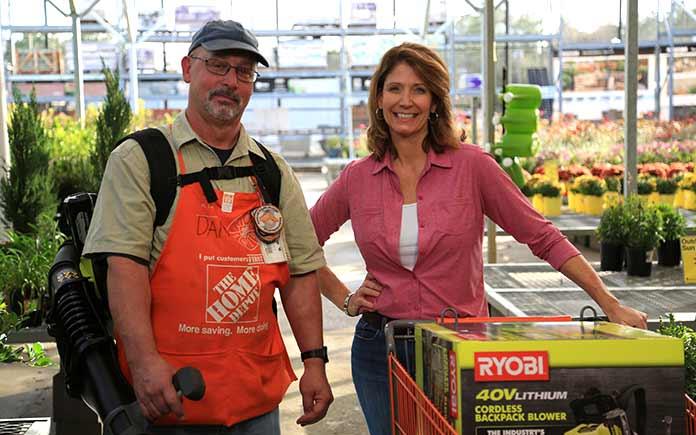 Mobile, Alabama Home Depot associate Dan Levin introduces Best New Products host Jodi Marks to Ryobi's 40-volt backpack leaf blower.