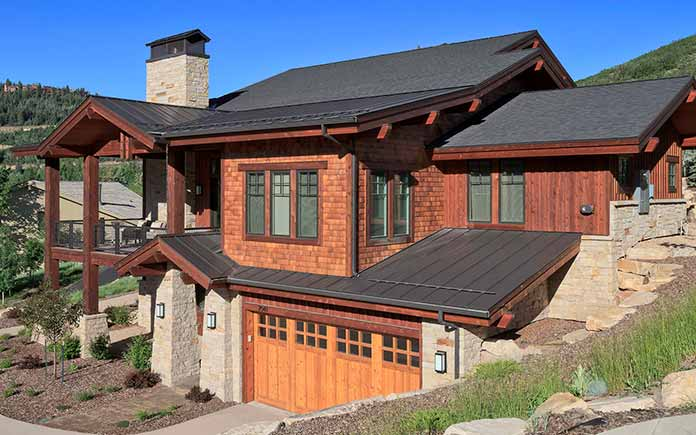mountain home with metal roof