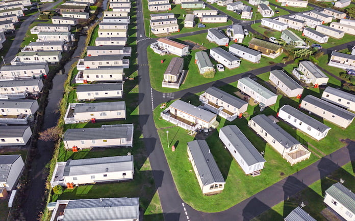 Caravan and camping, static home aerial view. Porthmadog holiday park taken from the air by a drone.