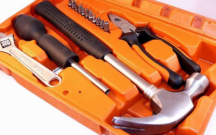 DoubleSun 25 Pieces Tool Set-General Homeowner Hand Tool Kit with Plastic Toolbox Storage Case-Orange