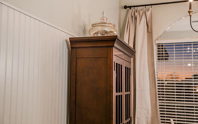 Beadboard wainscoting in dining room