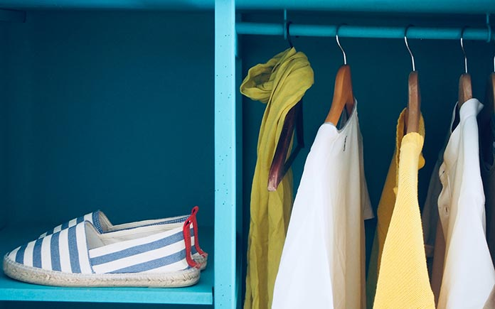 Blue closet with shoes and shirt