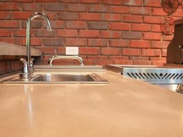 Concrete countertop in an outdoor kitchen