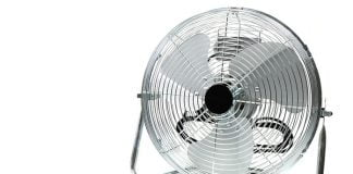 Electric portable fan on a white background