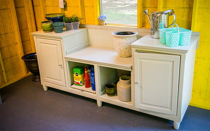 Repurposed potting bench in she shed
