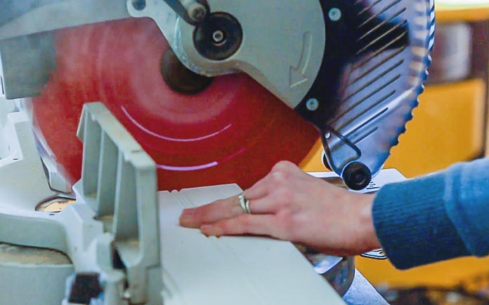 Sawing beadboard wainscoting