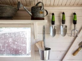 Yard tools stored in shed