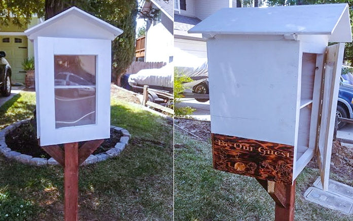 White Little Free Library mounted on a wooden post in Sacramento, California