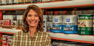 Jodi Marks with PPG Zero VOC Primer, posed at The Home Depot in Mobile, Alabama