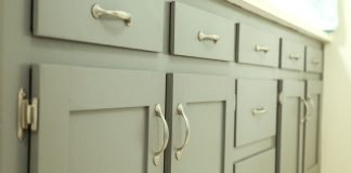 Shaker cabinets painted pale blue