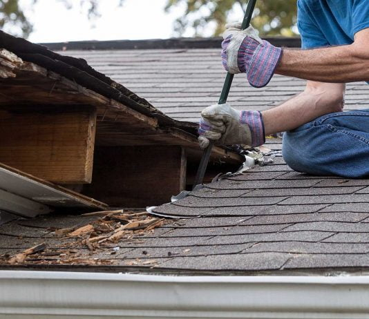 Man works on mold-damaged roof