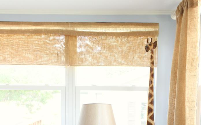 Burlap Roman shades in Chelsea Lipford Wolf's sunroom