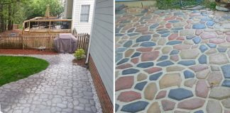 Split screen of two images; the left side shows a gray concrete patio made from Quikrete WalkMaker and the right side shows a multi-colored concrete patio made with Quikrete WalkMaker