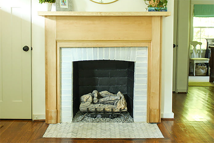 Fireplace with black painted firebox