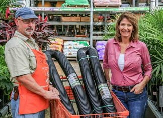 Jodi Marks and Dan Levin with Flex-Drain Pro Drain Pipe