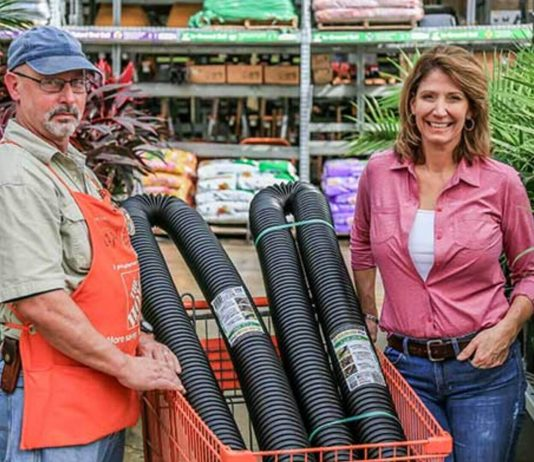 Jodi Marks and Dan Levin with Flex-Drain Pro Drain Pipe