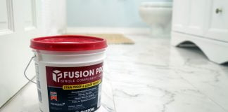 Fusion Pro, pictured close up, on a faux marble tile floor