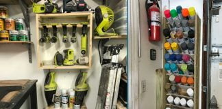Sabrina Gordon's organized garage, featuring a paint can shelving system and Ryobi drill organization systems