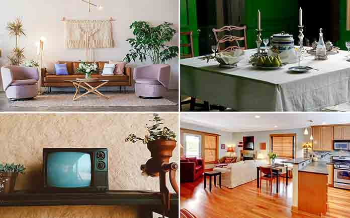Split screen of four interiors, from past to present, showing mid-century interior design to 2020 open floor plan
