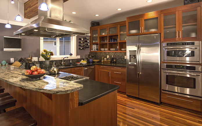 Modern kitchen with accent lighting