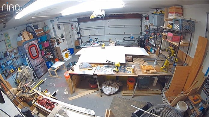 Ring video footage of Sabrina Gordon's garage, before the makeover that included new garage organization systems