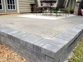 Uncovered concrete patio