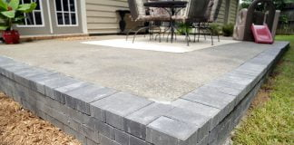 Uncovered concrete patio