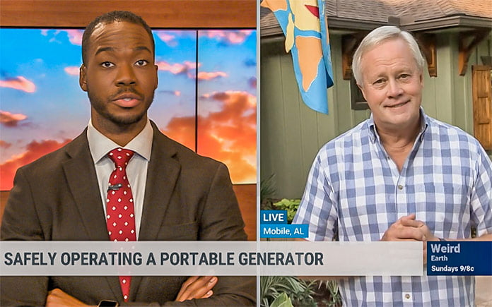 Split screen of Weather Channel news anchor and Danny Lipford talking about generator safety
