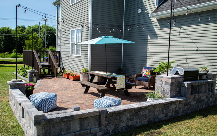 Beautiful paver patio in a Hurricane, West Virginia backyard
