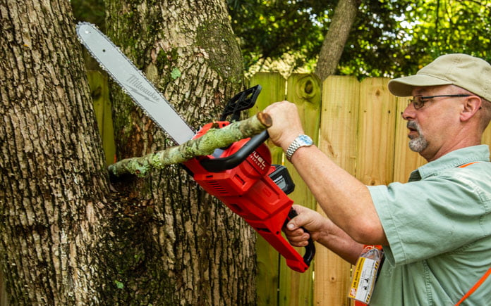 Dan from The Home Depot cuts limbs with Milwaukee's chainsaw