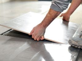 Installing ceramic tile flooring over vinyl flooring