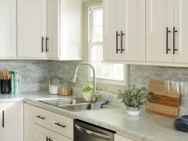 White kitchen cabinets with modern pulls in an updated kitchen from 2020