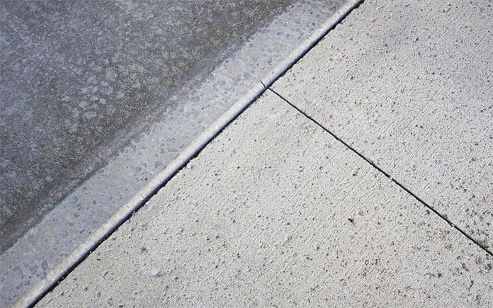 Closeup of a concrete slab with control joints