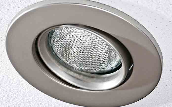 Recessed light, seen in extreme closeup