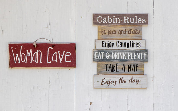 Woman cave sign, seen just outside a she shed