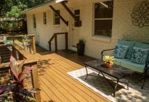 wood deck with cable railing system