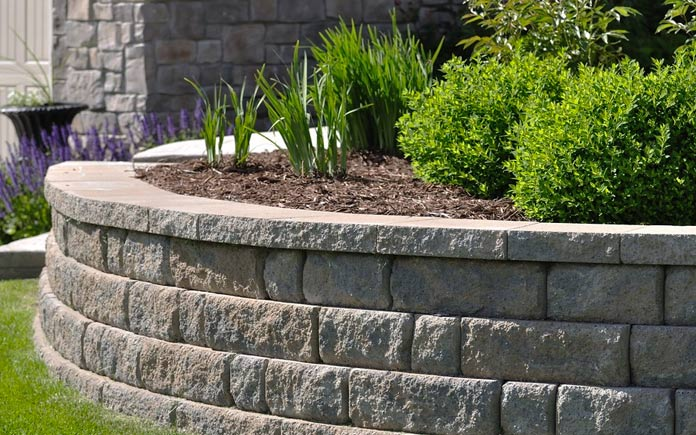 Paver retaining wall with plants and mulch growing at the top