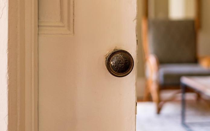 Pocket doors partially closed