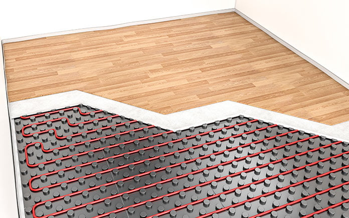 Composite image of radiant heated flooring system and wood planks that conceal them
