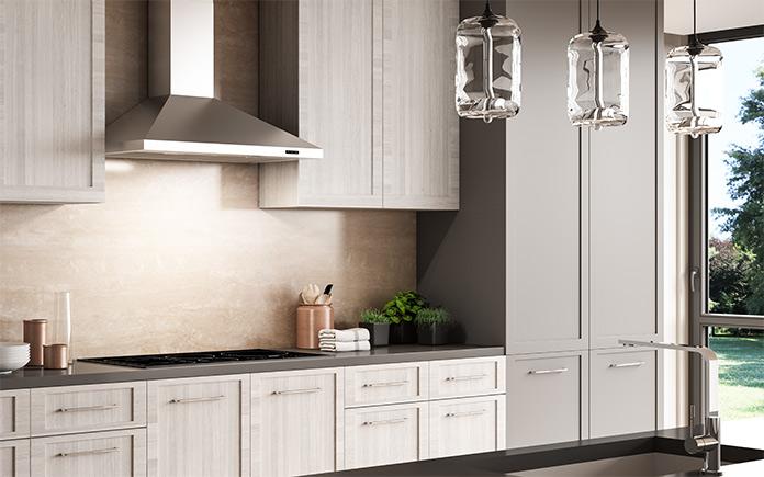 Belle hotte de cuisine moderne dans une cuisine chic et élégante